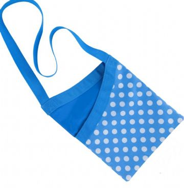 Quality Over the Shoulder Peg Bag Polka Dot Blue Spotty 33x27cm